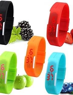 Mulheres Relógio Esportivo Relógio de Pulso Bracele Relógio Relógio Casual Relogio digital Digital LED Silicone Banda Doce Preta Branco