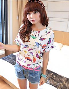 Femei Rotund Bluză Casul/Zilnic Simplu(ă),Imprimeu Manșon scurt Vară-Negru / Multi-color Subțire