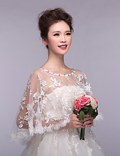 cheap Wedding Wraps-Sleeveless Lace Tulle Wedding Party Evening Wedding  Wraps With Appliques Lace Capelets