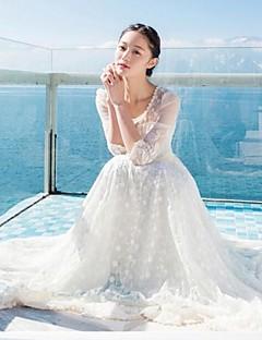 levne Maxi šaty-Dámské Jdeme ven Sofistikované Swing Šaty - Jednobarevné, Krajka Maxi Bílá