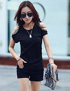 Daily Casual Street chic Summer T-shirt,Solid Round Neck Short Sleeves Cotton Thin