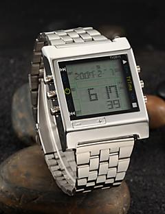 Herre Armbåndsur Digital LED Fjernkontroll Kalender alarm Stoppeklokke Rustfritt stål Band Sølv