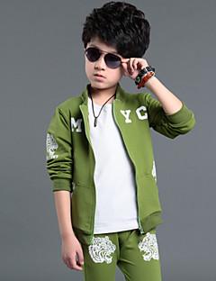 billige Tøjsæt til drenge-Drenge Tøjsæt Forår Efterår Langærmet Sort Grå Grøn