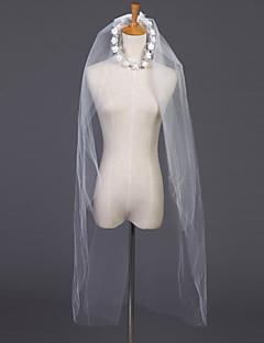 billige Bryllupsslør-To-lags Skær Kant Bryllupsslør Albue Slør Med Bjergkrystal 39,37 i (100 cm) Tyl