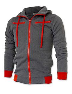 billige Herremote og klær-Herre Store størrelser Sport Langermet Hoodie Jacket Ensfarget
