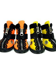billiga Hundkläder-Hund Skor och stövlar / Hundstövlar och -skor Spetskant / Vattentät Enfärgad / Hund / Ensfärgat Orange / Gul För husdjur