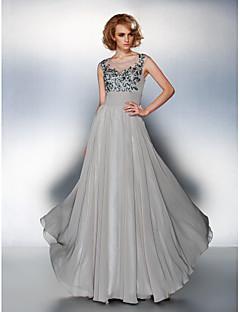 billige Kjoler i plusstørrelse-A-linje Scoop Neck Gulvlang Chiffon Kjole med Paljett Appliqué Bølgemønster av TS Couture®