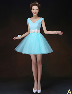 A-Line Princess High Neck Strapless One Shoulder V-neck Short / Mini Tulle Bridesmaid Dress with Flower(s) Sash / Ribbon Pleats by LAN