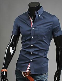お買い得  ドレスシャツ-男性用 プラスサイズ シャツ ビジネス カジュアル スリム ソリッド