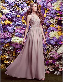 preiswerte AURORA Couture Brautjungfern-Eng anliegend Halter Boden-Länge Chiffon Brautjungfernkleid mit Überkreuzte Rüschen durch LAN TING BRIDE®