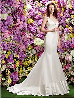 Trompet / Deniz Kızı Uzun Kuyruk Organze Saten Düğün elbisesi ile Aplik tarafından LAN TING BRIDE®