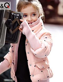 tanie Odzież dla dziewczynek-Odzież puchowa / pikowana Poliester Dla dziewczynek Zima Jesień Długi rękaw Black Różowy