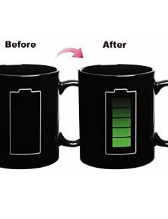 hesapli Çay Fincanları-1pc 300ml sihirli pil renksiz seramik kupa içki içeceği