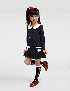 Girl's Cotton/Polyester Sweet Double Row Buttons Doll Collar Long Sleeve Dress