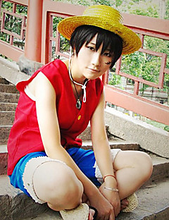 "billige Anime cosplay-Inspirert av One Piece Monkey D. Luffy Anime  ""Cosplay-kostymer"" Cosplay Klær Lapper Ermeløs Vest Shorts Til Herre"