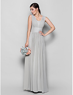 Sheath / Column Square Neck Floor Length Chiffon Bridesmaid Dress with Draping by LAN TING BRIDE®