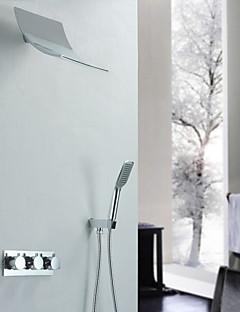 現代風 シャワーシステム 滝状吐水タイプ ハンドシャワーは含まれている with  セラミックバルブ 二つのハンドル三穴 for  クロム , シャワー水栓