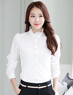 Damen Solide / Jacquard Einfach Formal Hemd,Ständer Sommer Langarm Weiß Dünn
