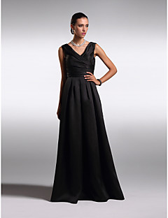 c87abac34555b A-Line V Neck Floor Length Satin Open Back Cocktail Party / Prom / Formal