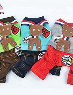 billiga Hundkläder-Hund Jumpsuits Hundkläder Färgblock Grå Grön Blå Cotton Kostym För husdjur Herr Gulligt