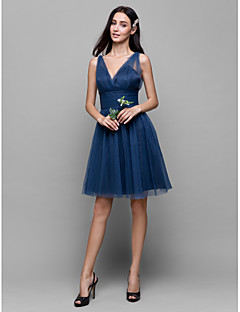 cheap Imperial Blue-A-Line V Neck Knee Length Tulle Bridesmaid Dress with Criss Cross by LAN TING BRIDE®