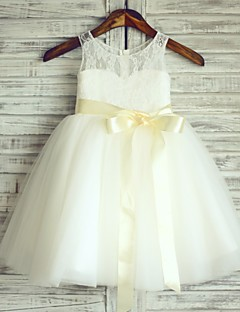 姫の膝の長さ花の女の子のドレス - チュール袖ノースリーブスクープネックthstyleeでリボン