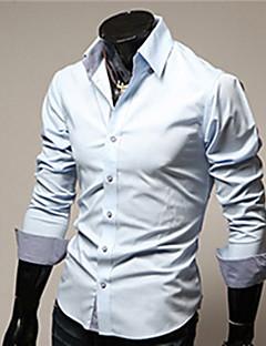 billige Herremote og klær-Bomull Tynn Klassisk krage Store størrelser Skjorte Herre - Ensfarget