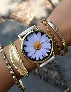 billige Armbåndsure-Dame Quartz Armbåndsur Hot Salg PU Bånd Blomst Vintage Mode Sort Hvid Grøn Pink Beige