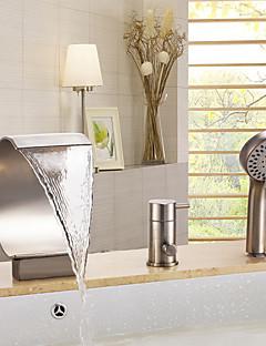 Moderne Badekar Og Dusj Foss Hånddusj Inkludert with  Keramisk Ventil Tre Huller Enkelt håndtak tre hull for  Nikkel Børstet ,