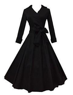 婦人向け シャツカラー ドレス , コットン ミディ ハーフスリーブ