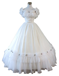 One Piece Dress Gothic Lolita Steampunk® Cosplay Lolita Dress White Solid Sleeveless Dress For Lace Organza Terylene FRP