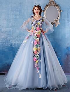 זול -נשף נסיכה צווארון וי שובל כנסייה (צ'אפל) סאטן טול ערב רישמי שמלה עם פרח(ים) על ידי Embroidered Bridal