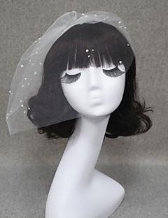 billiga Brudslöjor-Ett lager Skuren kant Brudslöjor Rouge Slöjor Slöjor för Kort hår Med Pärla Tyll