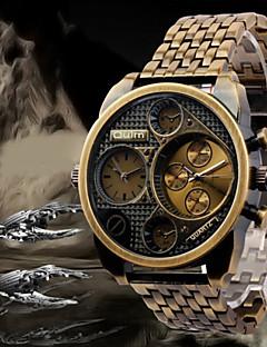 Oulm 男性用 軍用腕時計 リストウォッチ クォーツ 日本産クォーツ 2タイムゾーン ステンレス バンド ラグジュアリー ブラック ブロンズ ローズゴールド