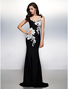 Mermaid / Trumpet Square Neck Sweep / Brush Train Jersey Formal Evening Dress with Appliques by TS Couture®