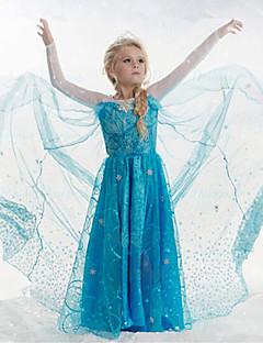 Menina de Vestido Jacquard Algodão / Acrílico / Organza Todas as Estações Azul