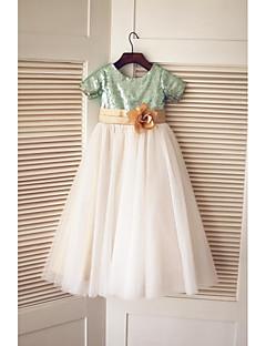- ラインの床の長さフラワーガールのドレス - チュールでスパンコールとチュールスパンコールの半袖ジュエルネック