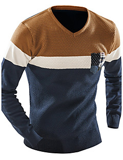 Men's Daily Casual Regular Pullover,Color Block V Neck Long Sleeves Cotton Winter Fall Medium Stretchy