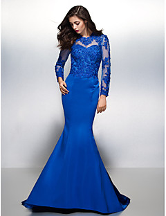 cheap Special Occasion Dresses-Mermaid / Trumpet Jewel Neck Court Train Lace Over Satin Cocktail Party / Formal Evening / Holiday Dress with Lace by TS Couture®