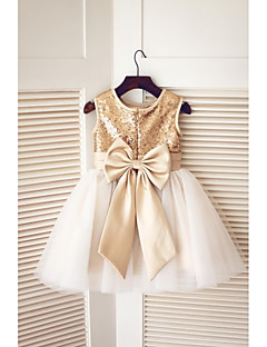 A-Line Knee Length Flower Girl Dress - Tulle Sequined Sleeveless Jewel Neck with Bow(s) Sequins by LAN TING BRIDE®