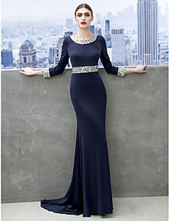 Sheath / Column Scoop Neck Sweep / Brush Train Jersey Formal Evening Black Tie Gala Dress with Crystal Detailing by TS Couture®