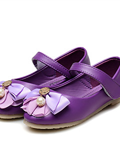 お買い得  フラワーガールシューズ-女の子 靴 レザーレット 春夏 コンフォートシューズ / フラワーガールシューズ フラット ラインストーン / リボン / スパークリンググリッター のために パープル / ピンク / パーティー