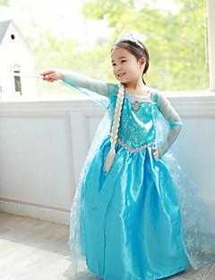 billige Barnekostymer-Prinsesse Eventyr Elsa Cosplay Kostumer Party-kostyme Barne Jul Halloween Barnas Dag Festival / høytid Drakter Ensfarget / Chiffon