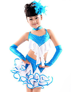 cheap New Arrivals-Latin Dance Outfits Performance Cotton Polyester Spandex Ruffles Top Skirt Gloves Neckwear