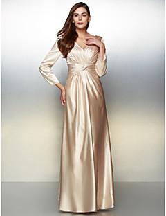 billiga Klänningar till speciella tillfällen-A-linje V-hals Golvlång Charmeuse Formell kväll Klänning med Korsvis av TS Couture®
