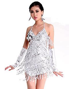 ריקוד לטיני שמלות בגדי ריקוד נשים ביצועים ספנדקס פוליאסטר חלק 1 בלי שרוולים שמלה