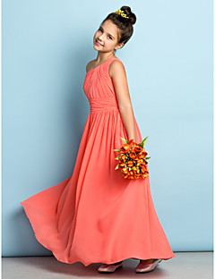 A-Line One Shoulder Ankle Length Chiffon Junior Bridesmaid Dress with Side Draping by LAN TING BRIDE®