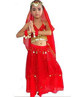 tanie Dziecięca odzież do tańca-Taniec brzucha Outfits Wydajność Poliester Spandeks Koraliki Złote monety Cekiny Spódnica Biustonosz Bransoletki Nakrycia głowy