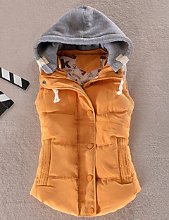 Kadın Solid Sade Kaban,Polyester Polyester Normal Dolgulu-Kolsuz Kapşonlu