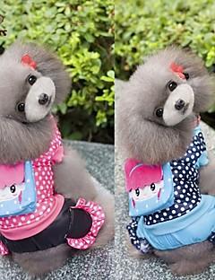 billiga Hundkläder-Hund Kappor Jumpsuits Hundkläder Prickig Ros Blå Cotton Kostym För husdjur Herr Dam Ledigt/vardag